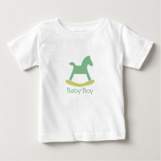 Pojkegrönt & gul vagga hästbabyTshirt Tee