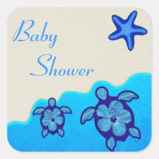 PojkeHonu baby shower Fyrkantigt Klistermärke