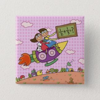 Pojkeinnehav en blackboardsitta med en flicka på standard kanpp fyrkantig 5.1 cm