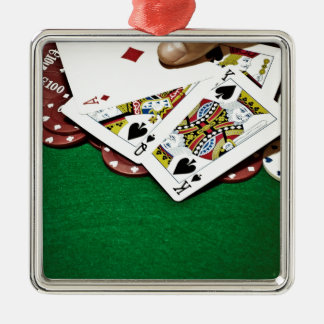 Poker för bord för visningkortgrönt julgransprydnad metall