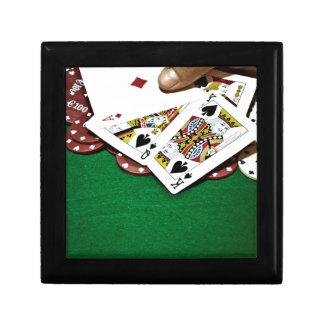 Poker för bord för visningkortgrönt presentskrin