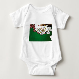 Poker för bord för visningkortgrönt t-shirt