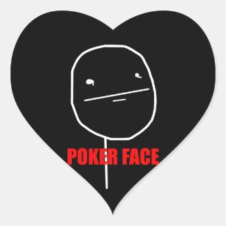 Pokeransikte - svart hjärtaklistermärkear hjärtformat klistermärke