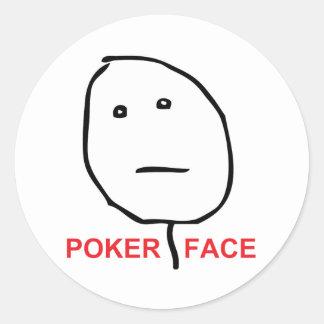 Pokeransikte (text) runt klistermärke