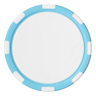 Pokerchiper med den baby blue randiga kanten spel chips