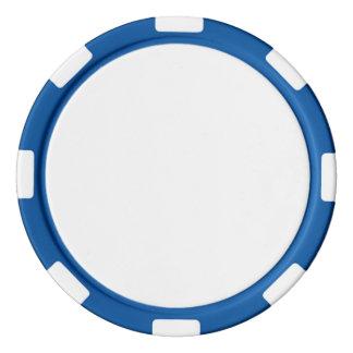Pokerchiper med den blått görade randig kanten casino tokens