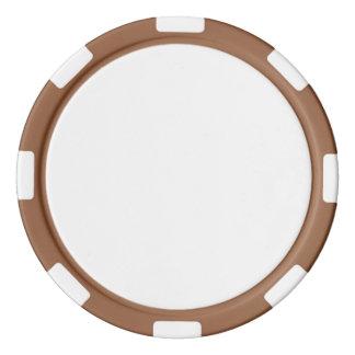 Pokerchiper med den brunt görade randig kanten poker marker