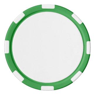 Pokerchiper med den grönt görade randig kanten set av poker chips