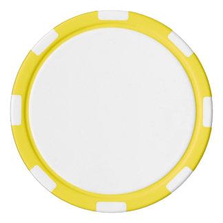 Pokerchiper med den gult görade randig kanten spel tokens