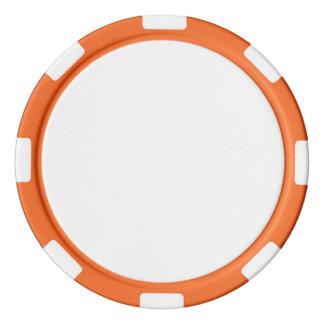 Pokerchiper med den orange görade randig kanten spel chips