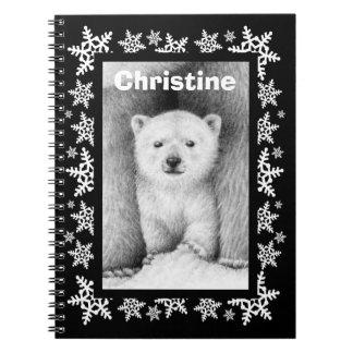 Polar anteckningsbok för jul för björnungeSnowflak