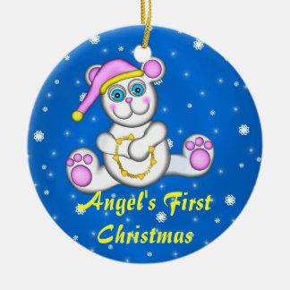 Polar björn för baby, personligprydnad julgransprydnad keramik