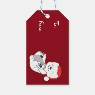 Polar björn för jul med den röda Santa hatten Presentetikett