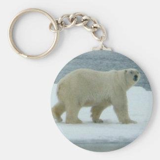 Polar björn för vit rund nyckelring