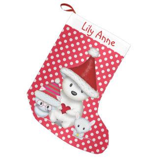Polar björn-, kattunge- och muspersonligstrumpa liten julstrumpa