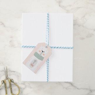 Polar björn - låt det snöa - gullig julgåvamärkre presentetikett