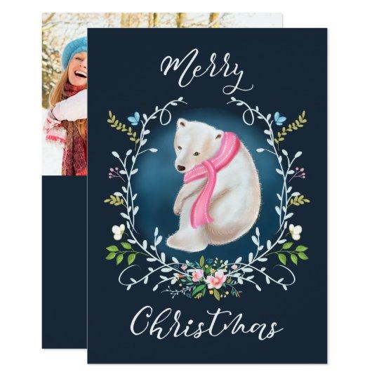 Polar björn- och för blommigtkranfoto julkort 12,7 x 17,8 cm inbjudningskort