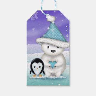 Polar björn- och pingvinjuletiketter presentetikett