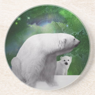 Polar björn, unge och nordlig ljusaurora underlägg sandsten