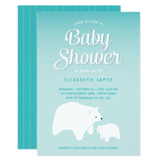 Polar björnbaby 12,7 x 17,8 cm inbjudningskort
