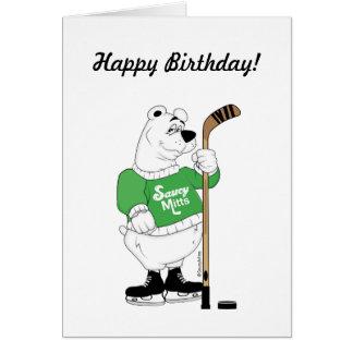Polar björnfödelsedag för hockey hälsningskort