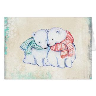 Polarbjörnar i Scarvesjulkort Hälsningskort