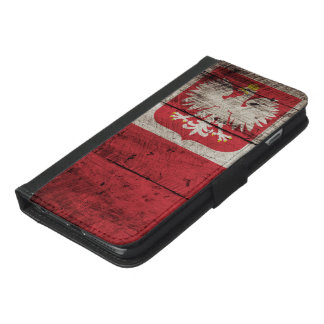 Polen flagga på gammalt Wood korn iPhone 6/6s Plus Plånboksfodral
