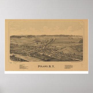 Polen New York 1890 antika panorama- karta Poster