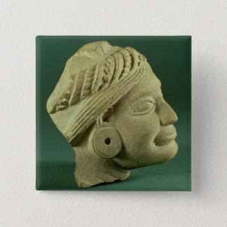 Polerat turbaned huvud för sandsten, Sarnath, 3rd  Standard Kanpp Fyrkantig 5.1 Cm