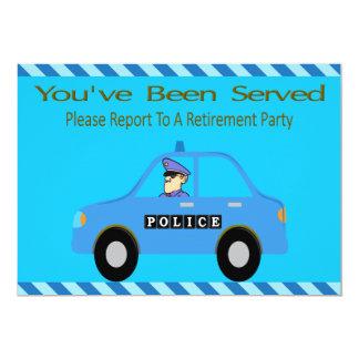 Polisbilen kommenderar pensioninbjudan 12,7 x 17,8 cm inbjudningskort