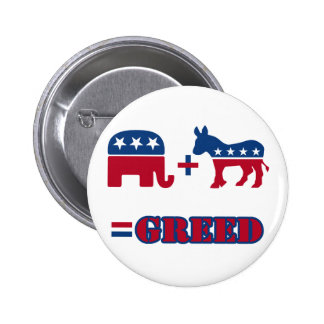 Politisk girighet standard knapp rund 5.7 cm
