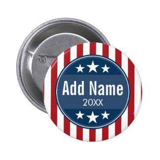 Politisk kampanj - patriotisk stars och stripes standard knapp rund 5.7 cm