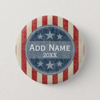 Politisk kampanj - vintagestars och stripes standard knapp rund 5.7 cm