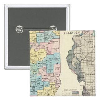 Politisk karta av Illinois Standard Kanpp Fyrkantig 5.1 Cm