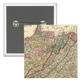 Politisk karta av West Virginia Pins