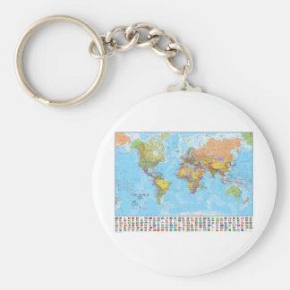 Politisk världskarta med flaggor rund nyckelring