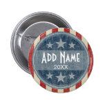 Politiskt knäppas - vintagestars och stripes standard knapp rund 5.7 cm