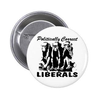Politiskt korrekta liberal person 3 apor knappar