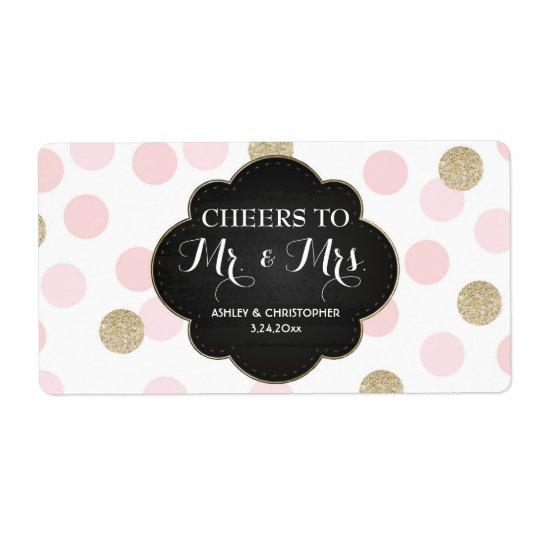 Polka dots för etikett för champagne för fraktsedel