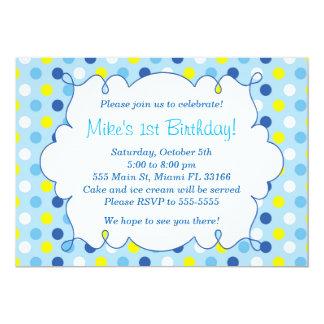 Polka dots för gult för blått för 12,7 x 17,8 cm inbjudningskort