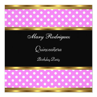 Polka dots för Quinceañera partyrosor Fyrkantigt 13,3 Cm Inbjudningskort
