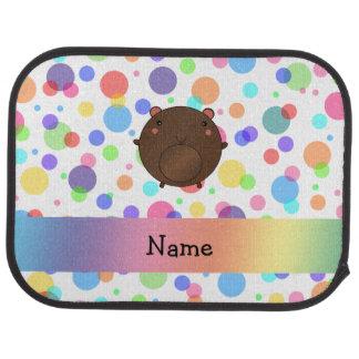 Polka dots för regnbåge för personlignamnbjörn bilmatta