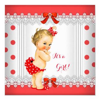Polka dots för vit för flickababy shower blond röd fyrkantigt 13,3 cm inbjudningskort