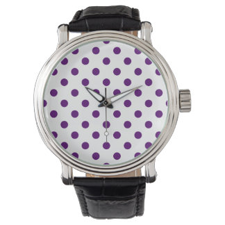 Polka dots - mörk Violet på vit Armbandsur