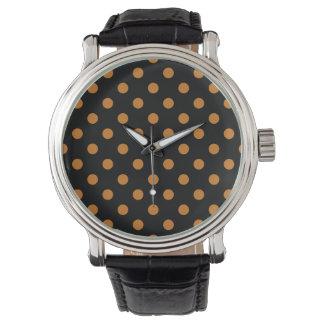 Polka dots - Ochre på svart Armbandsur