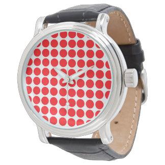 Polka dots skrivar ut rött armbandsur