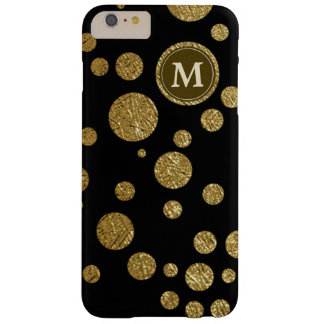 polka dots som är guld- på svarten, personlig barely there iPhone 6 plus skal