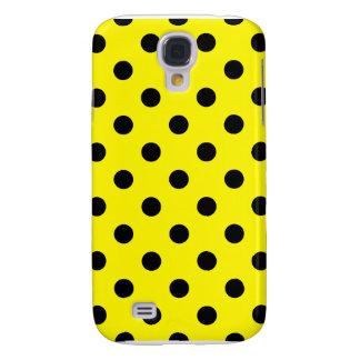 Polka dots - svart på citronen galaxy s4 fodral