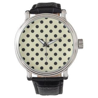 Polka dots - svart på kräm armbandsur
