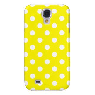 Polka dots - vit på citronen - gult galaxy s4 fodral